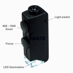 60x-100x potencia de zoom sistema de iluminación led microscopio de bolsillo